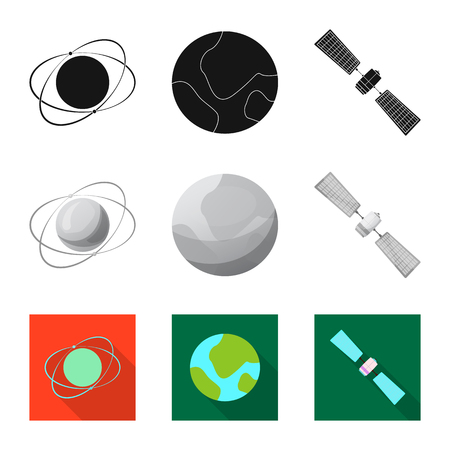 Vector illustration of mars and space icon. Collection of mars and planet stock vector illustration.