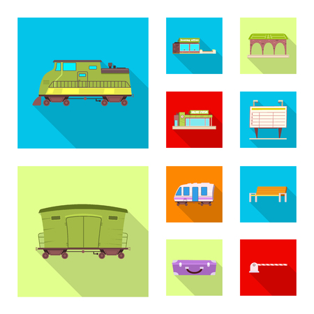 Vector design of train and station symbol. Collection of train and ticket stock symbol for web.