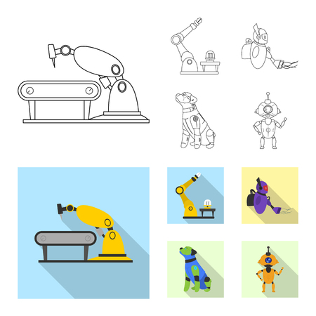 Vector design of robot and factory symbol. Set of robot and space stock symbol for web. Illustration