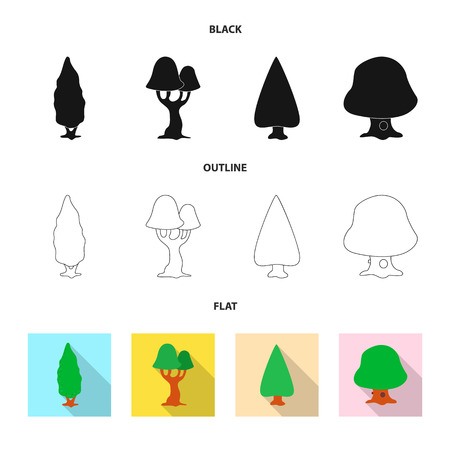 Isolated object of tree and nature icon. Set of tree and crown stock vector illustration.