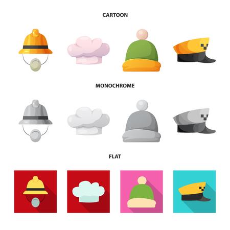 Vector illustration of headgear and cap symbol. Collection of headgear and accessory stock vector illustration.