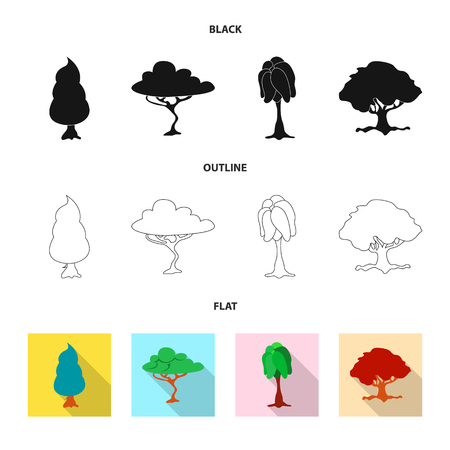 Vector design of tree and nature symbol. Collection of tree and crown vector icon for stock. Illustration