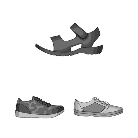 Different shoes monochrome icons in set collection for design. Men and women shoes bitmap symbol stock web illustration.