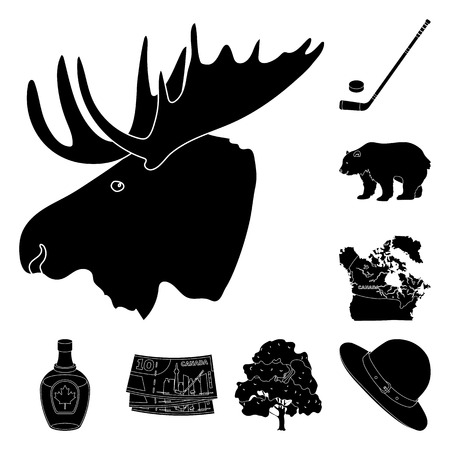 Country Canada black icons in set collection for design. Canada and landmark bitmap symbol stock web illustration.