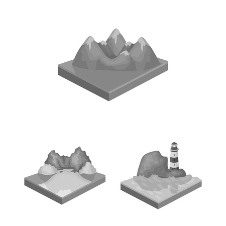 Mountains, massive monochrome icons in set collection for design. The surface of the earth bitmap isometric symbol stock web illustration. Foto de archivo - 112762864