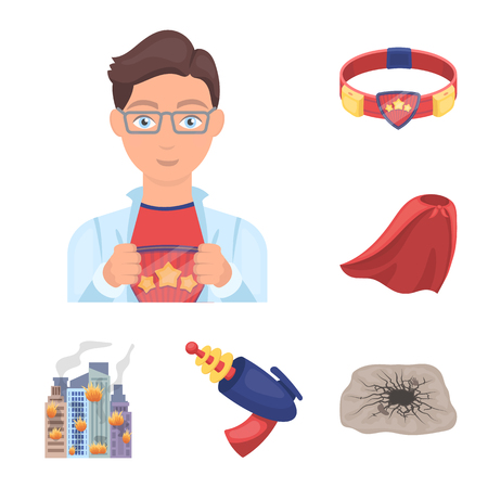 A fantastic superhero cartoon icons in set collection for design. Superhero equipment bitmap symbol stock web illustration.
