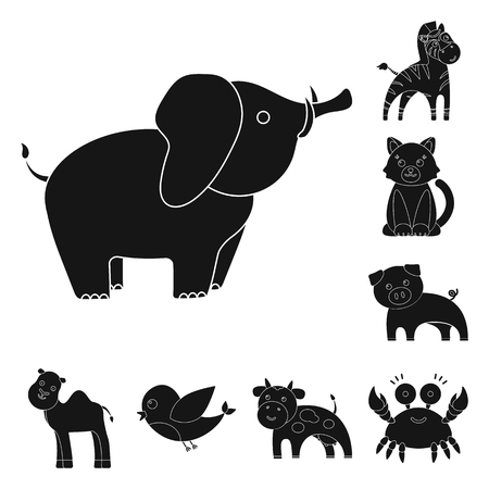 An unrealistic black animal icons in set collection for design. Toy animals bitmap symbol stock web illustration.