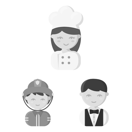 People of different professions monochrome icons in set collection for design. Worker and specialist bitmap symbol stock web illustration.