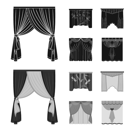 Embroidery, textiles, furniture and other web icon in black,monochrome style.Curtains, stick, cornices, icons in set collection.