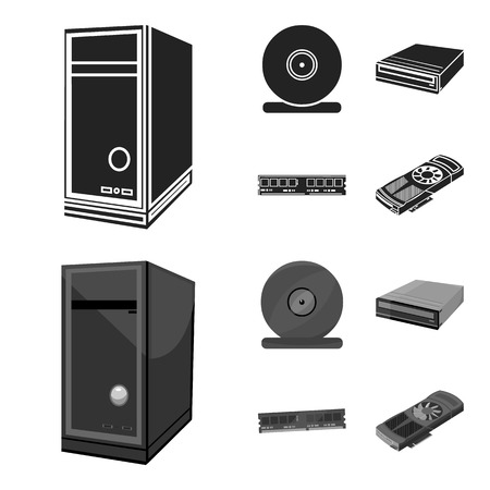 System unit, memory card and other equipment. Personal computer set collection icons in black,monochrom style bitmap symbol stock illustration web. Archivio Fotografico - 112769155