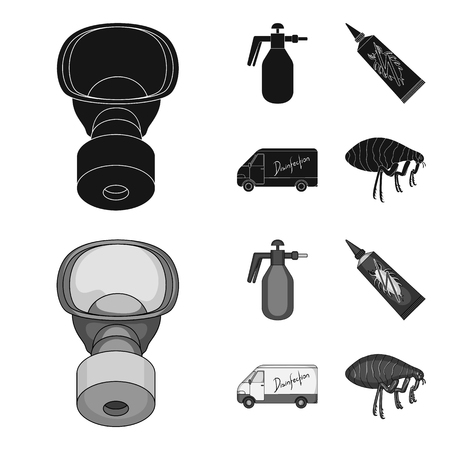 Flea, special car and equipment black,monochrome icons in set collection for design. Pest Control Service bitmap symbol stock web illustration.