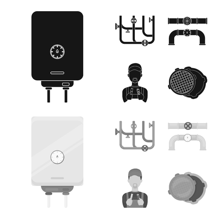Boiler, plumber, ventils and pipes.Plumbing set collection icons in black,monochrom style bitmap symbol stock illustration web. 写真素材