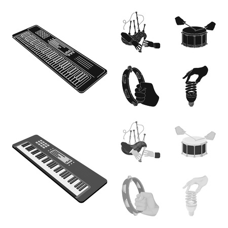 Synthesizer melodies, bagpipes Scotch and other web icon in black,monochrome style. drum, drum roll, tambourine in hand icons in set collection. Stock Photo
