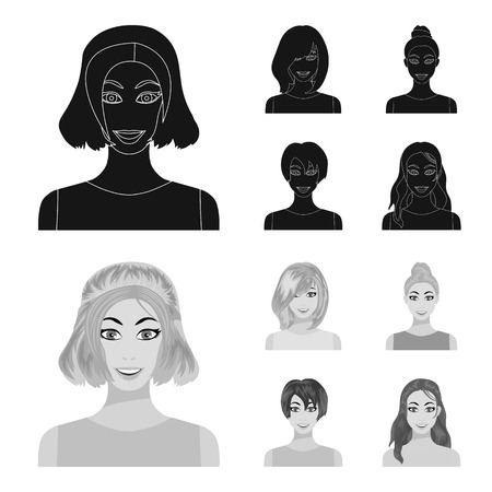 Types of female hairstyles black,monochrome icons in set collection for design. Appearance of a woman bitmap symbol stock web illustration.
