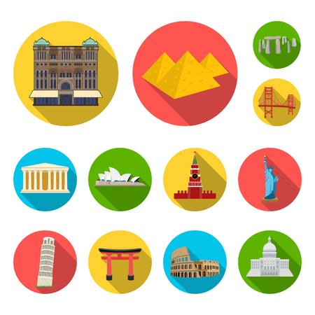Sights of different countries flat icons in set collection for design. Famous building bitmap symbol stock web illustration. Imagens