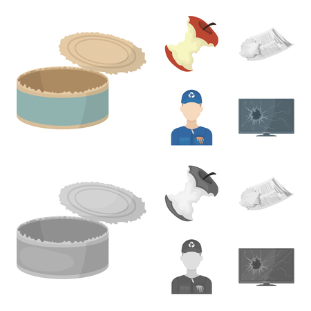 Can used used pot, apple stub, old dirty and wrinkled newspaper, the man who takes out the garbage.Garbage and trash set collection icons in cartoon,monochrome style bitmap symbol stock illustration web.