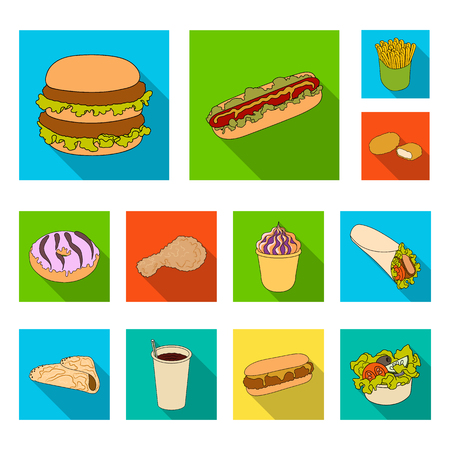 Fast food flat icons in set collection for design.Food from semi-finished products bitmap symbol stock web illustration. Imagens