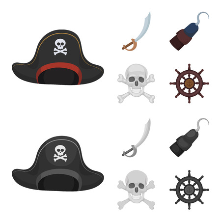 Pirate, bandit, cap, hook .Pirates set collection icons in cartoon,monochrome style bitmap symbol stock illustration web.