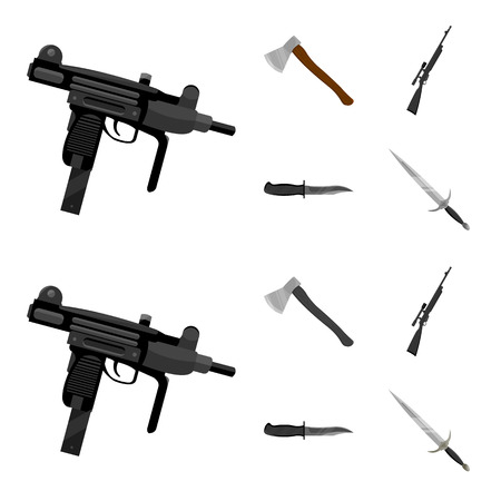 Ax, automatic, sniper rifle, combat knife. Weapons set collection icons in cartoon,monochrome style bitmap symbol stock illustration web.