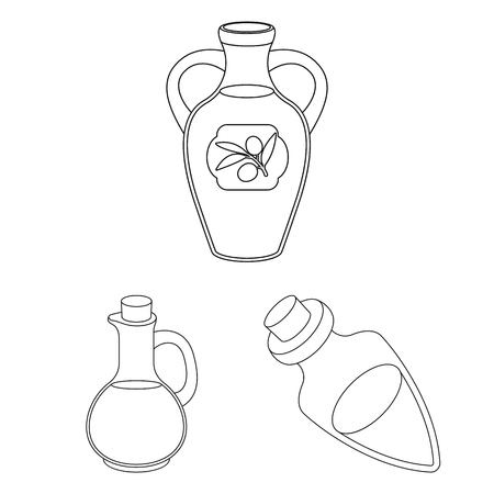 Isolated object of food  and bung . Set of food  and oil  stock vector illustration. Ilustração