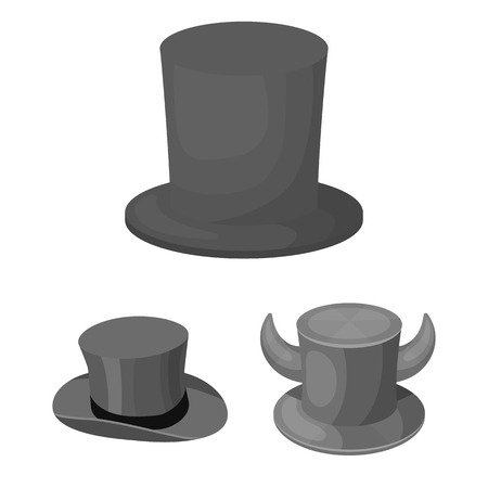 Vector design of hat and derby icon. Collection of hat and bonnet stock vector illustration. Ilustração