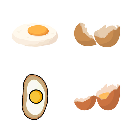 Vector illustration of egg and breakfast . Collection of egg and meal  stock symbol for web.