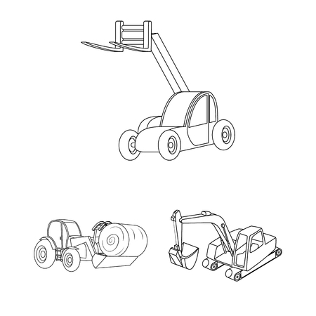 Vector illustration of front and excavator icon. Set of front and bucket stock vector illustration. Vettoriali