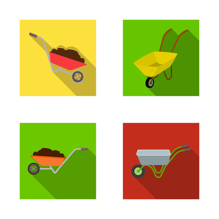 Isolated object of wheelbarrow and dirt symbol. Collection of wheelbarrow and barrow vector icon for stock.