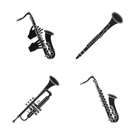 Vector design of trumpet and brass symbol. Collection of trumpet and saxophone stock vector illustration. Иллюстрация