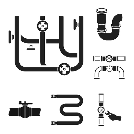 Vector design of pipe and plumbing logo. Collection of pipe and metal vector icon for stock.
