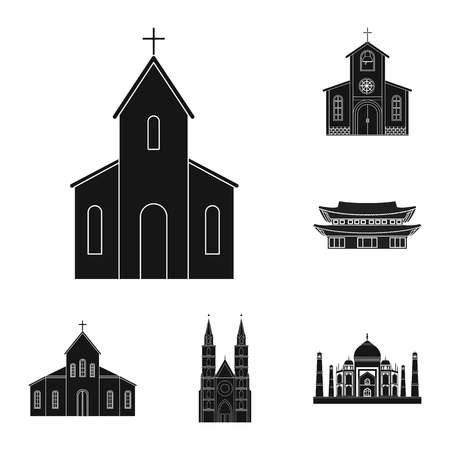 Isolated object of religion and wedding icon. Collection of religion and house vector icon for stock.