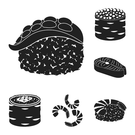 Isolated object of sushi and fish logo. Collection of sushi and cuisine stock vector illustration.
