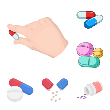 Vector design of pill and medicine icon. Collection of pill and vitamin stock vector illustration.