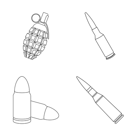 Vector design of weapon and war symbol. Collection of weapon and inventory  stock vector illustration.