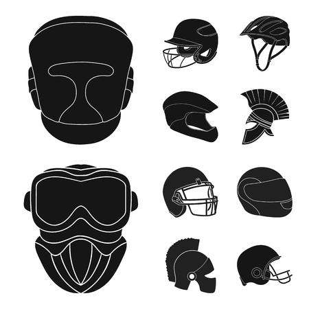 Vector design of helmet and sport symbol. Set of helmet and moto stock vector illustration.