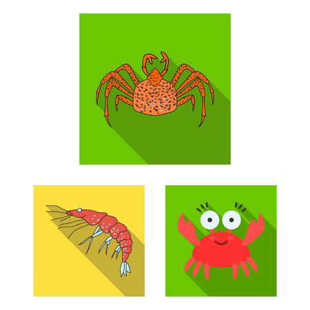 Vector illustration of crab and beach icon. Set of crab and sea stock symbol for web.