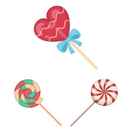 Vector design of cane  and spiral symbol. Set of cane  and stick stock vector illustration. Illustration