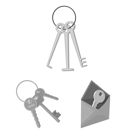 Vector illustration of key  and protection icon. Set of key  and security stock symbol for web.