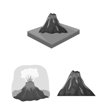 Isolated object of volcano and lava icon. Set of volcano and magma vector icon for stock. 일러스트