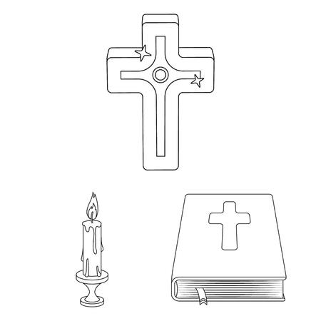 Vector design of muslim and items sign. Set of muslim and candle vector icon for stock.