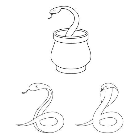 Disegno vettoriale del segno di serpente e cobra. Set di icone vettoriali serpente e tatuaggio per stock.