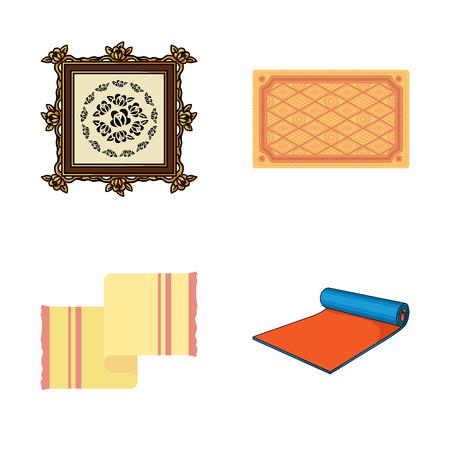 Vector illustration of carpet and persian logo. Collection of carpet and border vector icon for stock. Stock Illustratie