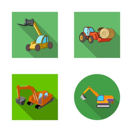 Illustration vectorielle du logo avant et pelle. Ensemble de symbole boursier avant et seau pour le web.