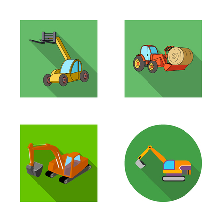 Vector illustration of front and excavator logo. Set of front and bucket stock symbol for web. Vettoriali