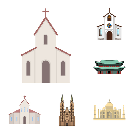 Vector illustration of religion and wedding logo. Collection of religion and house  vector icon for stock. Иллюстрация