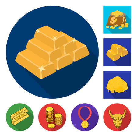 Isolated object of gold  and ingot logo. Set of gold  and economics vector icon for stock.