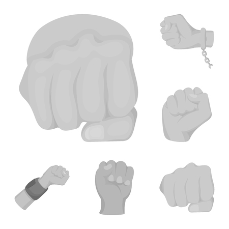 Vector illustration of fist and punch symbol. Collection of fist and hand stock symbol for web. Ilustrace