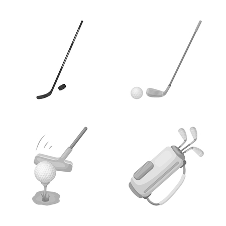 Vector illustration of stick and field sign. Set of stick and club stock symbol for web.