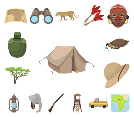 African Safari cartoon icons in set collection for design. Trophies and equipment for Safari vector symbol stock web illustration.