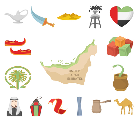 Country United Arab Emirates cartoon icons in set collection for design. Tourism and attraction vector symbol stock web illustration. Vettoriali